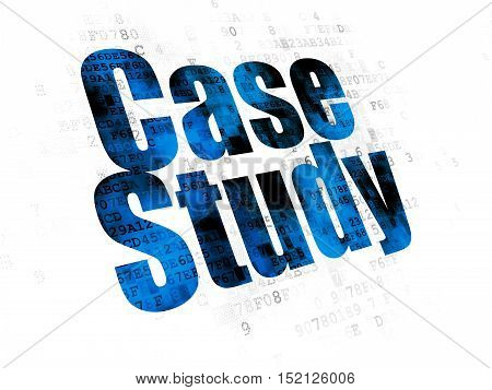 Studying concept: Pixelated blue text Case Study on Digital background