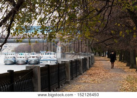 Moscow river embankment. Parkland. Colorful autumn. Walking through the city.