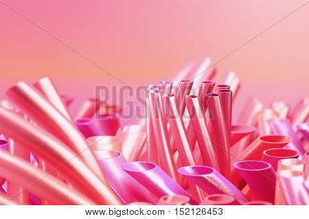 Abstract pink colored blurred background with tubes. 3d rendering