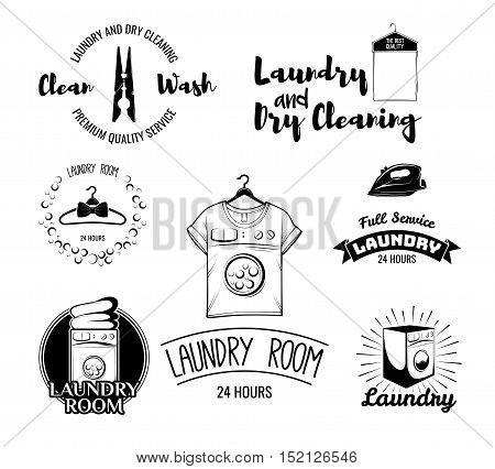 Laundry Room Badges. Set of stylish laundry emblems, labels and designed elements.
