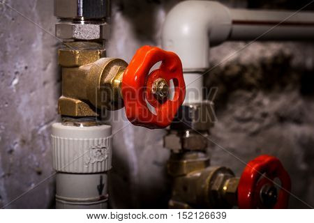 Piping With Taps, Central Heating System