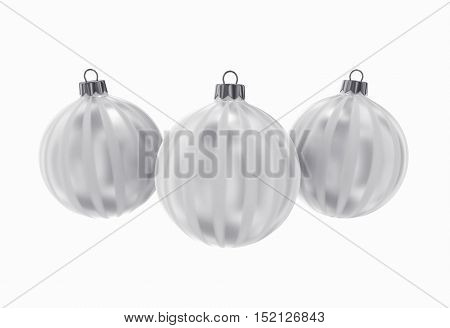 Silver Decorative Christmas Balls. Isolated New Year Image.