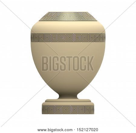 Cremation white urn 3d rendering isolated on white