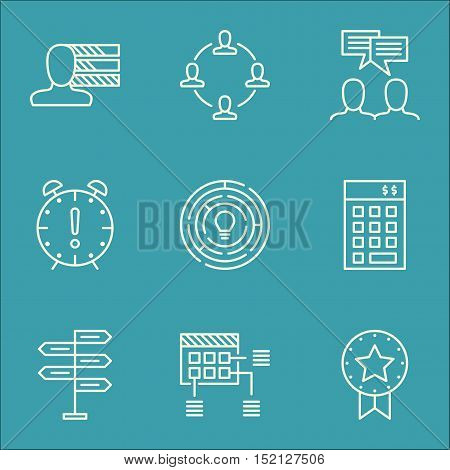 Set Of Project Management Icons On Collaboration, Discussion And Investment Topics. Editable Vector