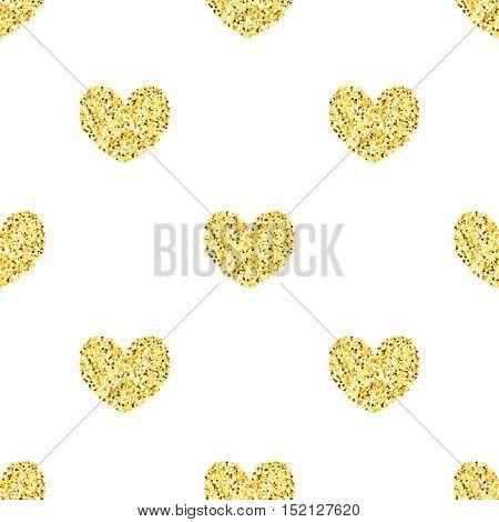 Golden glitter hearts, sparkles seamless pattern background, black template for banner, card, poster, flyer, web, header. Vector gold glittering illustration EPS10