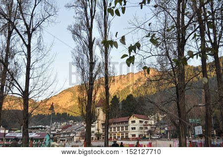 November 11, 2015: View of Mallital area, Cheena peak in the background view from Boat Club at Nainital, Uttarakhand, India. Nainital is a popular hill station in Uttarakhand, named after the Goddess Naina Devi. It also known as the 'Gateway to Kumaon Him