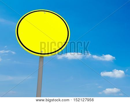 Blank Round Yellow Road Sign Against A Cloudy Sky 3d illustration
