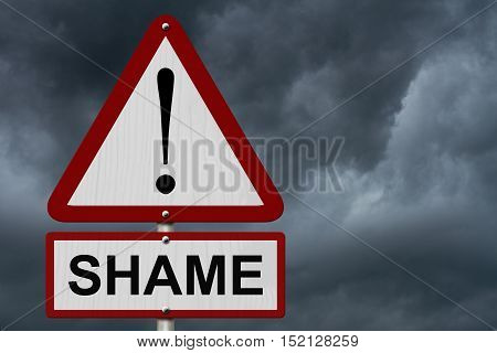 Shame Caution Sign Red and White Triangle Caution sign with word Shame with stormy sky background 3D Illustration