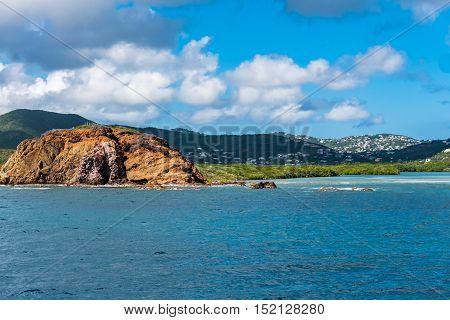 Caribbean coastline between St. Thomas and St. John