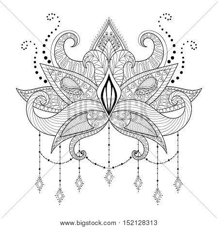 Boho doodle Lotus flower, blackwork tattoo design, Indian paisley. Hand drawn vector isolated illustration. Mystical, astrology, ritual, bohemian, gypsy spirit, yoga symbol in zentangle style.
