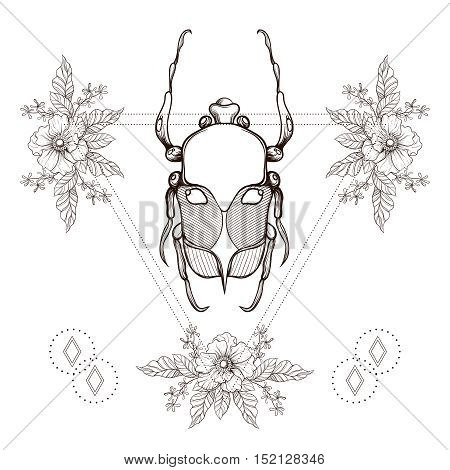 Boho tattoo. Blackwork beetle, May bug in hipster triangle frame with flowers. Vector illustration, spiritual tattoo sketch isolated on white for t-shirt print, poster, textile. Line art drawing.