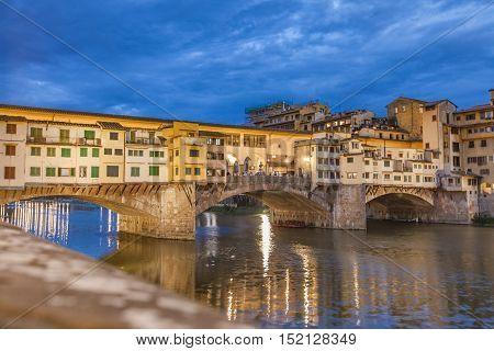 Bridge Ponte Vecchio By Night