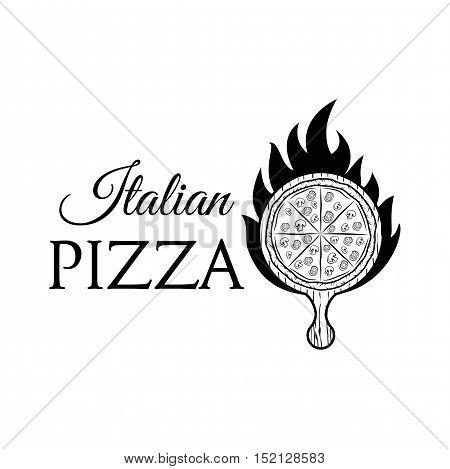 Italian Pizza Label. Badge Pizzeria. Design Elements Vector Illustration. Isolated