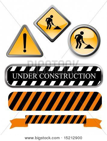 vector under construction signs and buttons
