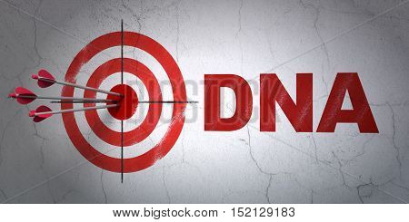 Success Healthcare concept: arrows hitting the center of target, Red DNA on wall background, 3D rendering