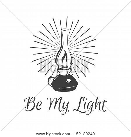 Be My Light. Kerosene lamp. Vintage paraffin lamp. Doodle style. Isolated on white. Vector Illustration