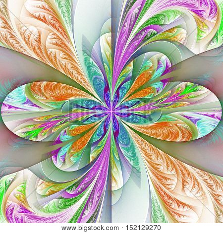 Beautiful multicolored fractal flower. Collection - frosty pattern. You can use it for invitations notebook covers phone case postcards cards wallpapers and so on. Artwork for creative design art.