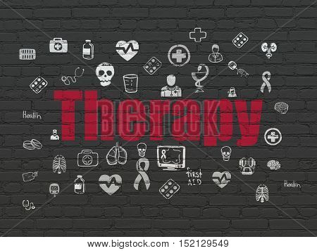 Healthcare concept: Painted red text Therapy on Black Brick wall background with  Hand Drawn Medicine Icons