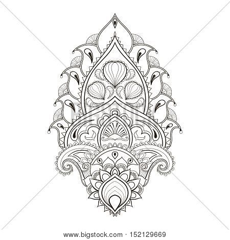 Floral leaf, lotus. Indian paisley ornament in zentangle style. Freehand ethnic sketch for adult coloring page. Ornamental artistic vector illustration for henna tattoo, t-shirt print.