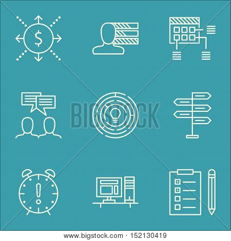 Set Of Project Management Icons On Computer, Discussion And Schedule Topics. Editable Vector Illustr