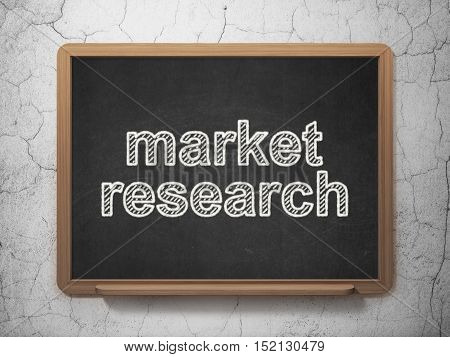Marketing concept: text Market Research on Black chalkboard on grunge wall background, 3D rendering
