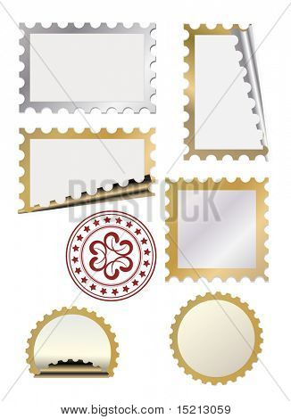 vector golden  post stamp template