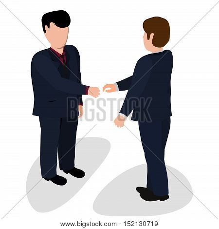 Business handshake concept.Meeting two businessmen.Full length portrait of two trade shaking hands.