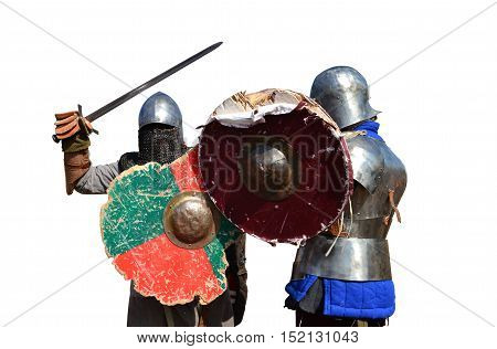 medieval metal armor and helmet mercenary warriors fighting isolated over white