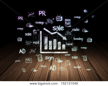 Marketing concept: Glowing Decline Graph icon in grunge dark room with Wooden Floor, black background with  Hand Drawn Marketing Icons