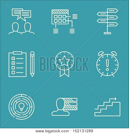 Set Of Project Management Icons On Reminder, Innovation And Opportunity Topics. Editable Vector Illu