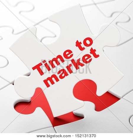 Time concept: Time to Market on White puzzle pieces background, 3D rendering