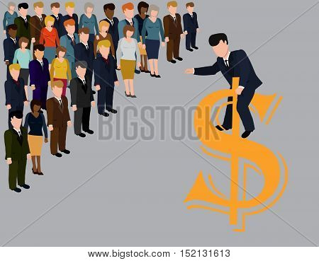 Boss Day.Hierarchy in company.Businessman delivers a speech in front of subordinates.Vector illustration.