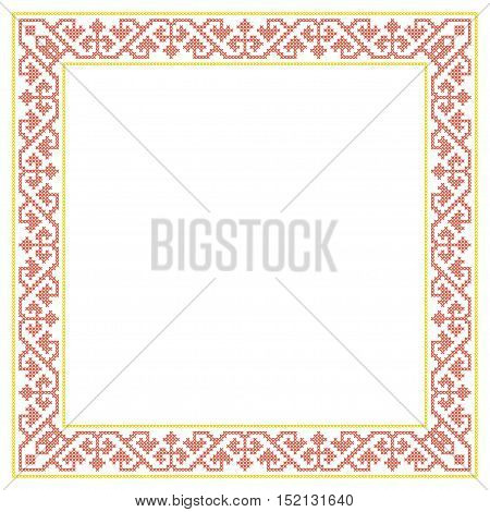 Decorative square frame, cross stitched embroidery imitation.
