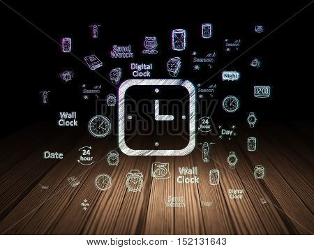 Time concept: Glowing Watch icon in grunge dark room with Wooden Floor, black background with  Hand Drawing Time Icons