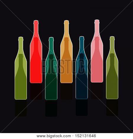 Background Bottle Ilustration.Alcoholic Bar Menu.Design for Party.Template for Menu Card.Wine List Placard.Suitable for Poster.Card Cocktail Invation.Bottle of Wine Vector..