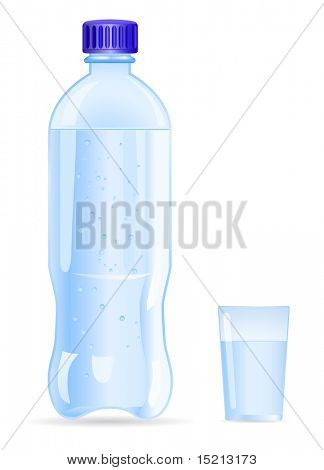 vector water bottle and glass