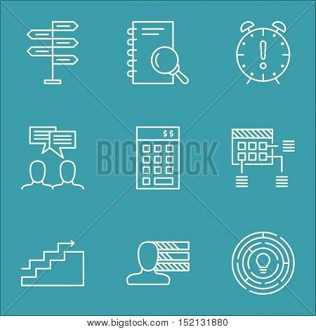 Set Of Project Management Icons On Schedule, Growth And Personal Skills Topics. Editable Vector Illu