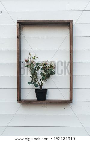 one shelf with swedish style plant in a black bucket