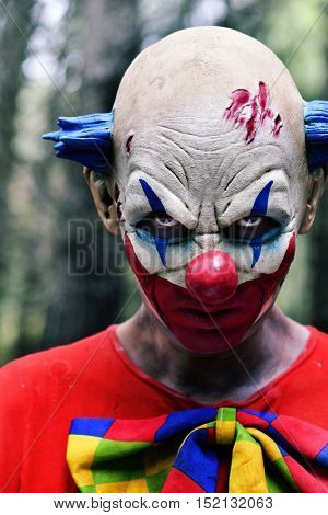 closeup of a scary evil clown staring at the observer, in the woods