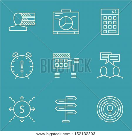 Set Of Project Management Icons On Discussion, Personal Skills And Investment Topics. Editable Vecto