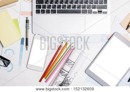 Office Desk With Electronic Devices