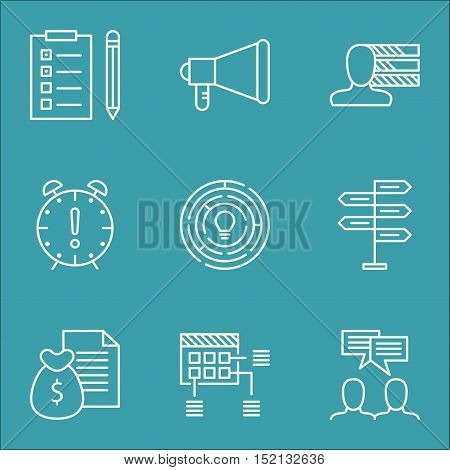 Set Of Project Management Icons On Reminder, Time Management And Personal Skills Topics. Editable Ve