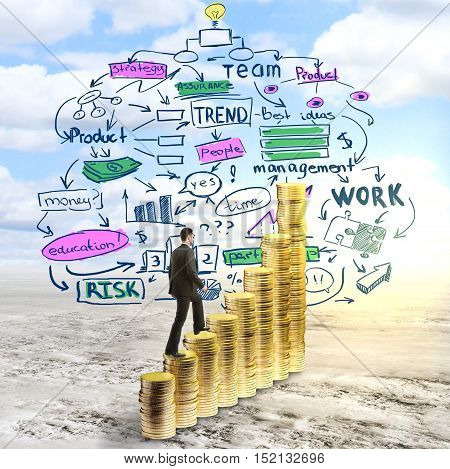 Side view of businessman in suit climbing abstract golden coin ladder on landscape background with business idea sketch. Success concept