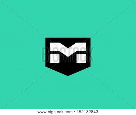 Abstract letter M shield logo design template