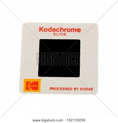 Stockholm, Sweden - Mars 14, 2016: One Kodak Kodachrome 126 paper framed slide isolated on white.