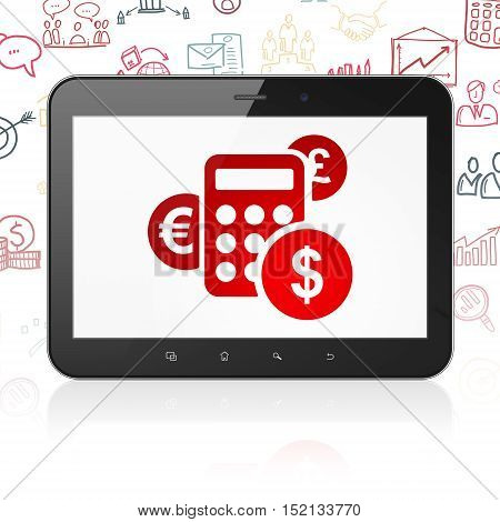 Finance concept: Tablet Computer with  red Calculator icon on display,  Hand Drawn Business Icons background, 3D rendering
