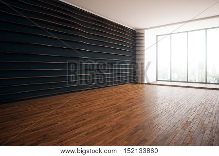 Modern interior with patterned walls wooden floor and floor-to-ceiling windows with city view. Side view 3D Rendering