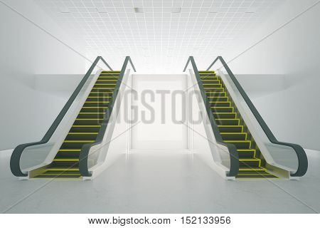 Front view of two escalator and blank poster in concrete interior. Mock up 3D Rendering