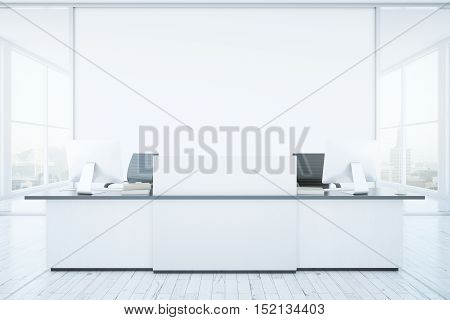 White reception desk and blank banner in interior with city view. Mock up 3D Rendering