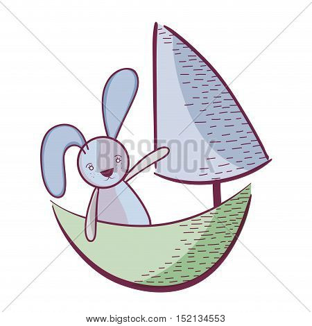 sail boat toy with cute rabbit over white background. vector illustration